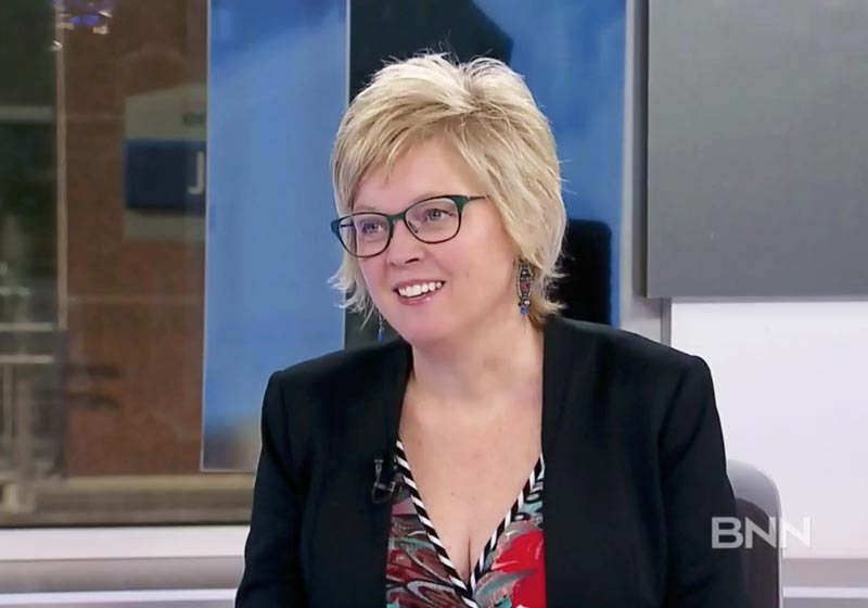 screen capture of Rhonda Barnet during her interview with BB on-air host, Michael Hainsworth